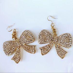 Gold Tone Rhinestone Bow Earrings Iced